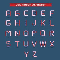 Set of usa ribbon alphabets