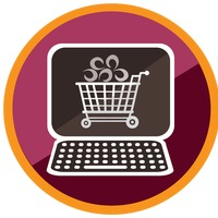 Shopping cart icon in computer