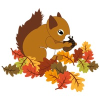 Squirrel with acorn and maple leaves