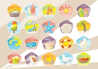 Summer beach vacation icons