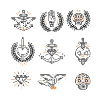 Tattoo icon set