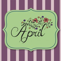 Vector with text saying april