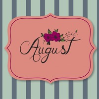 Vector with text saying august