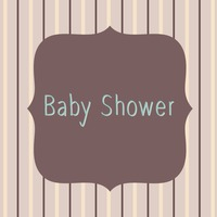 Vector with text saying baby shower