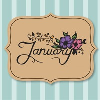 Vector with text saying january