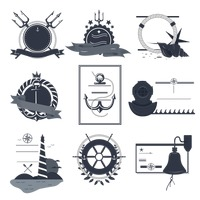 Vintage nautical labels and icons