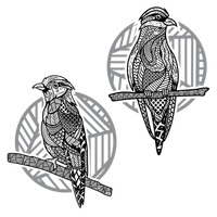 Zentangle styled bird set