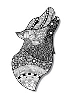 Zentangle wolf design