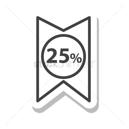 标签 : 25 percent discount tag
