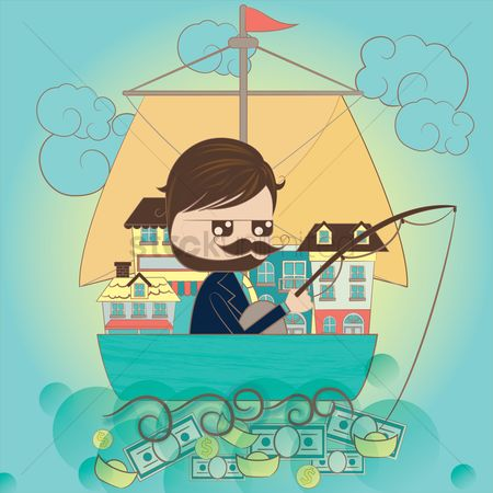动机 : A businessman fishing for money concept