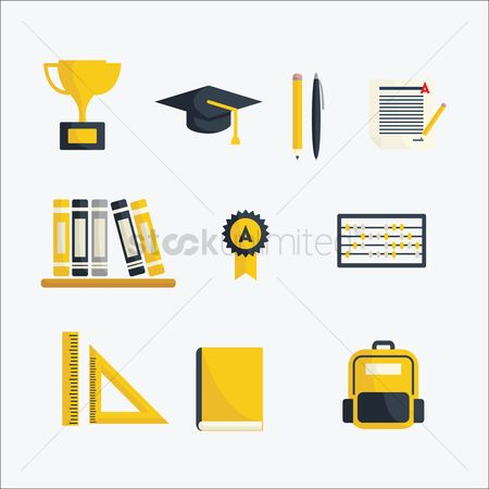 学校 : A collection of school items