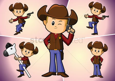 插图剪贴画 : A cowboy in various pose