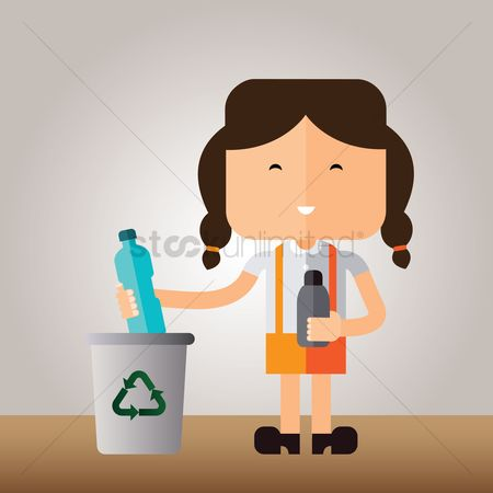 垃圾 : A girl recycling plastic bottles