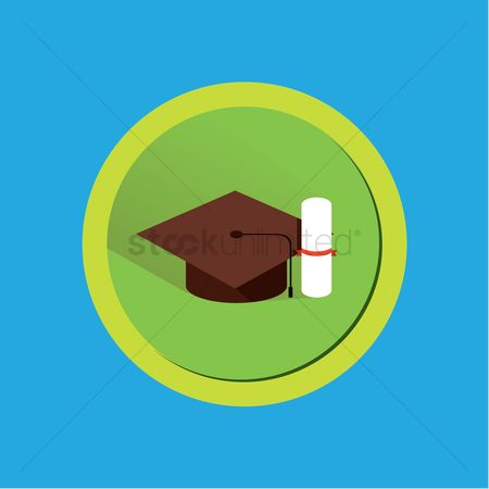 学校 : A graduation cap and scroll