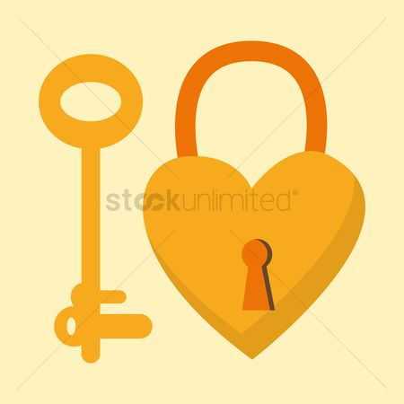葡萄收获期 : A key and heart shaped padlock