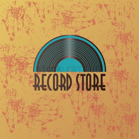 标签 : A record store logo with text