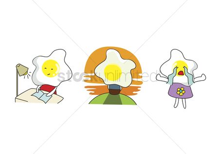 漫画 : A set of cartoon food characters