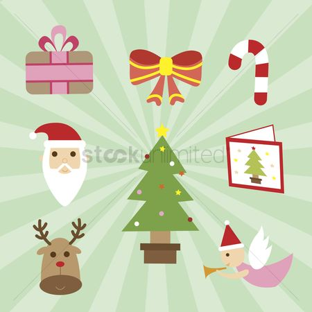 色带 : A set of christmas icons