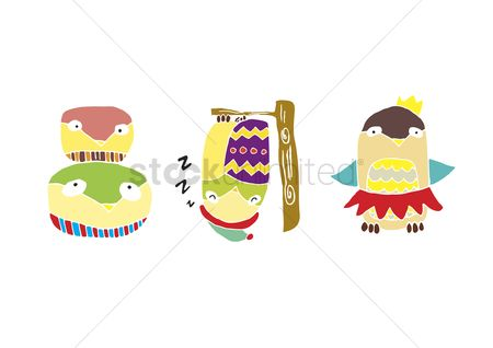漫画 : A set of illustrated owls