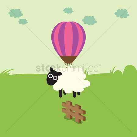 漫画 : A sheep hanging on a balloon