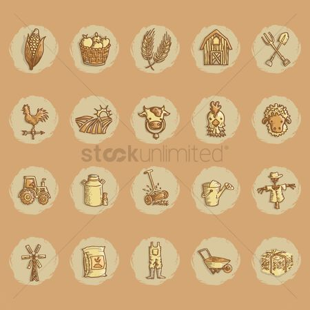 复古 : Agriculture icon collection