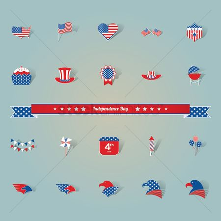 心脏 : American independence day icons
