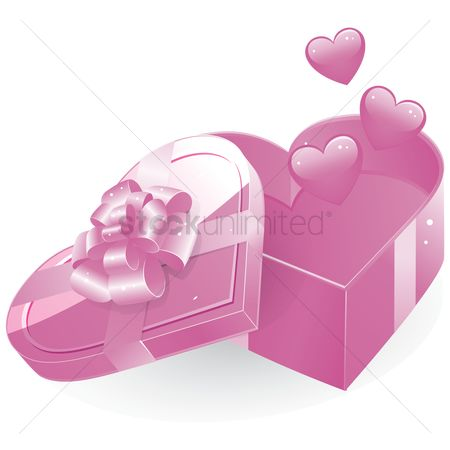 色带 : An opened heart shape gift box