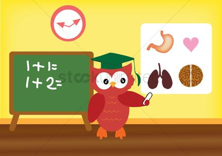 动物 : An owl teacher teaching in a classroom