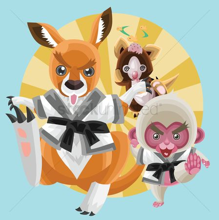 插图剪贴画 : Animals in karate outfit