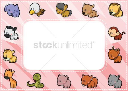 插图剪贴画 : Animals on a label