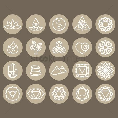 心脏 : Assorted zen and yoga icon set