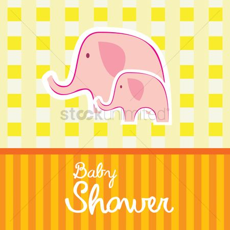 动物 : Baby shower invitation card