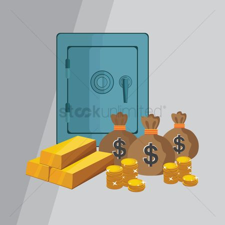 插图剪贴画 : Bank safe with money coins bars and sack