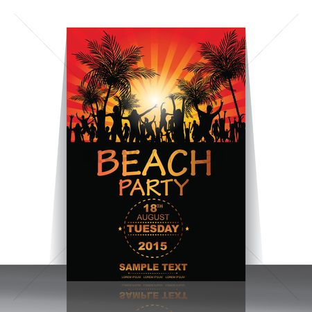 运动 : Beach party flyer