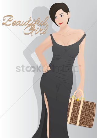 美女时尚 : Beautiful girl with handbag