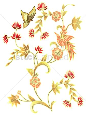 鸟类 : Bird butterfly and floral background