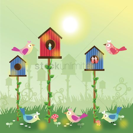 草 : Birds with some bird houses