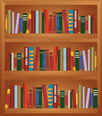 学校 : Bookshelf full of books