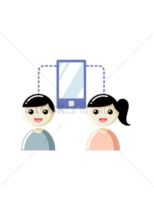 技术 : Boy and girl communicate with smartphone