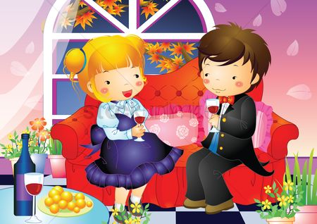 孩子 : Boy and girl sitting on a sofa