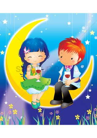 孩子 : Boy and girl sitting on the moon