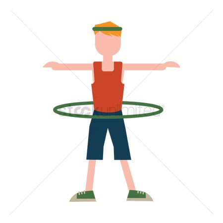 运动员 : Boy exercising with hoop