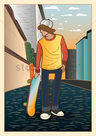 体育 : Boy holding skateboard