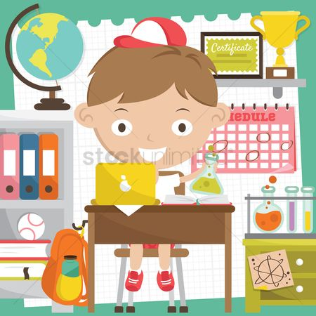学校 : Boy with various school objects