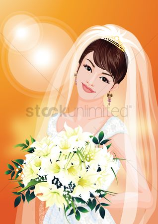 庆典 : Bride smiling while holding a bouquet
