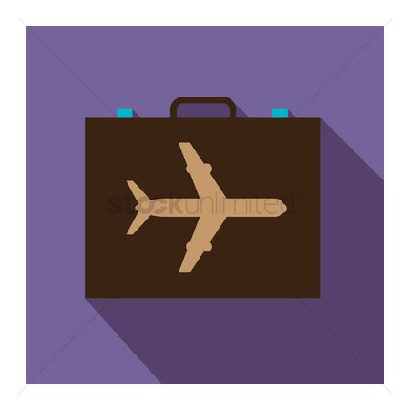 商业 : Briefcase with airplane image