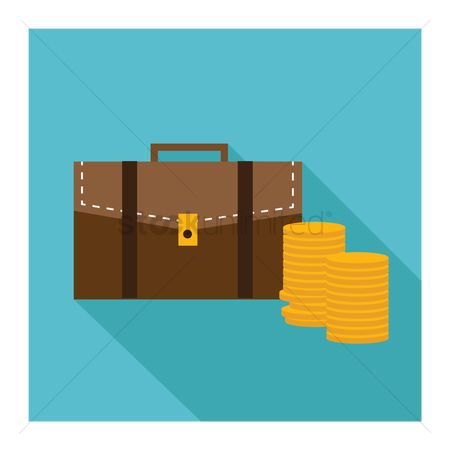 商业 : Briefcase with stacks of coins