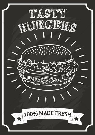 复古 : Burger poster on chalkboard