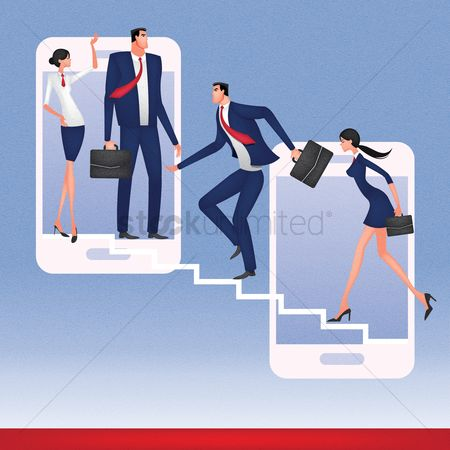 技术 : Business people climbing up the smartphones