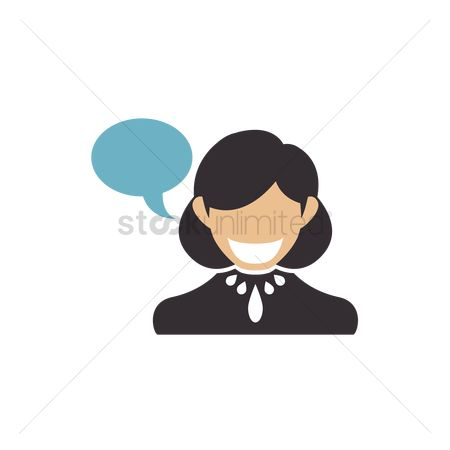 商业 : Business woman with speech bubble
